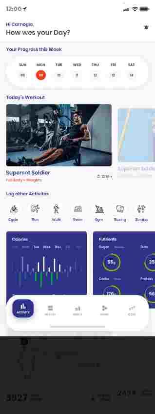 تصميم تطبيق مركز رياضي gym